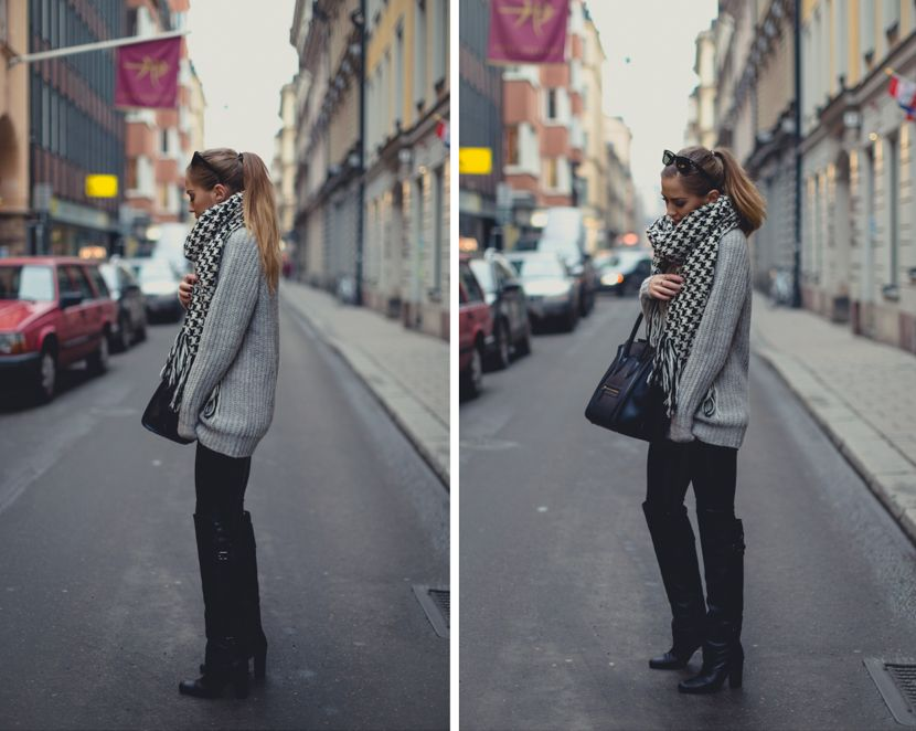 Grey-ish - Kenza wearing an Acne Knitted Sweater, Chiquelle Pants and H&M Paris Show Collection Boots.