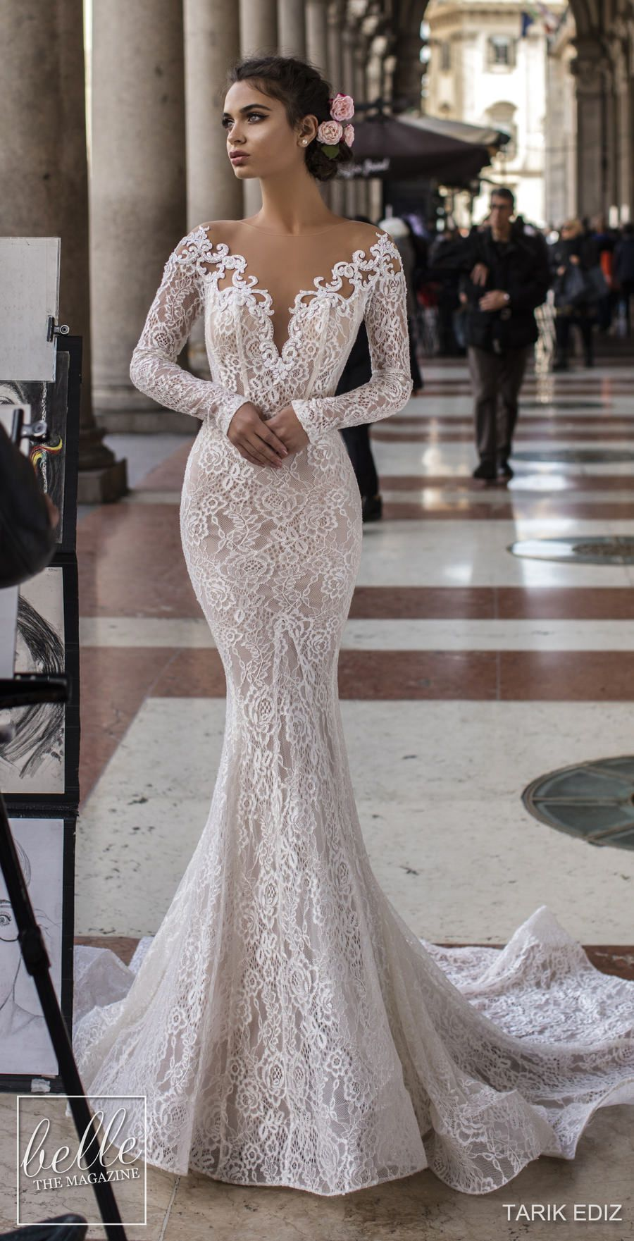 Tarik Ediz Wedding Dresses 2019 Belle The Magazine Lace Mermaid Wedding Dress Wedding Dress Long Sleeve Wedding Dresses [ 1761 x 900 Pixel ]