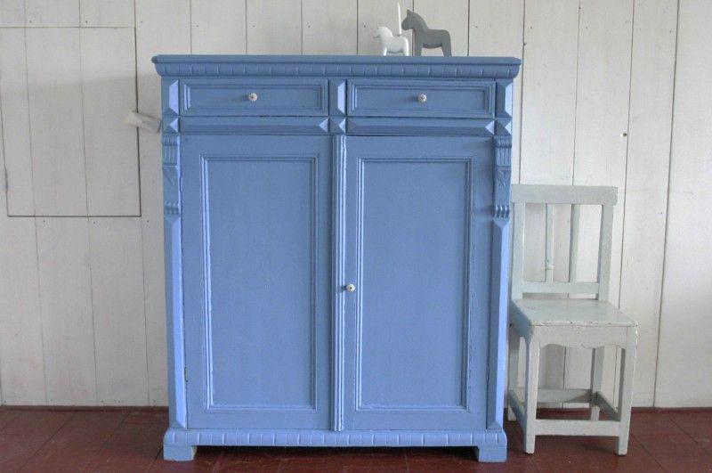 Antieke Zweedse Kast Kasten Rosa Rugosa Stuga Blue