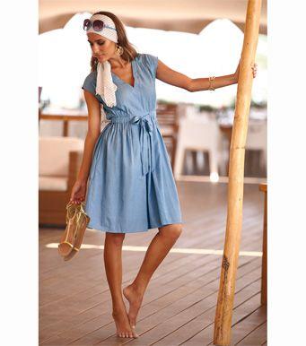 Vestido mujer cintura elástica 100% algodón Moda Mujer 36 Venca