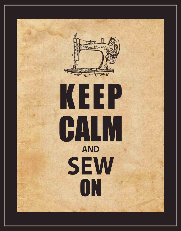 Keep Calm Wall Art - Keep Calm and Sew On - Vintage Sewing Machine ...