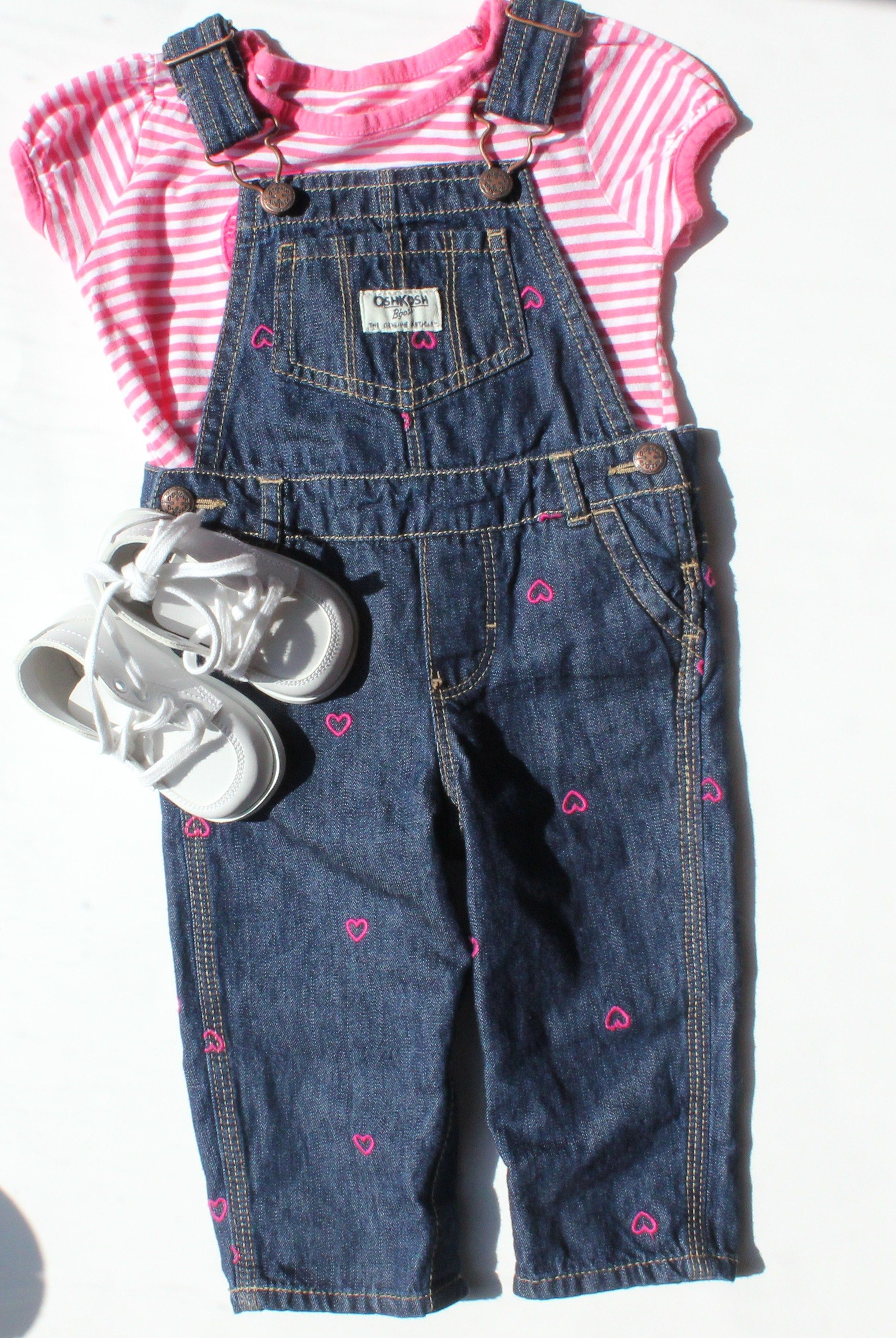 Baby Girl Outfit with Denim Overalls by Osh Kosh and Pink White
