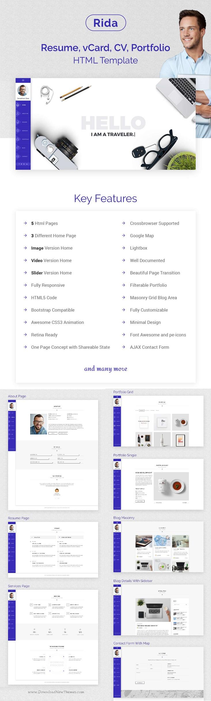 Rida Vcard  Responsive Html PortfolioResume Template  Resume