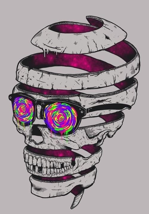 Psychedelic Sunglasses on an Unraveling Skull, illustration.