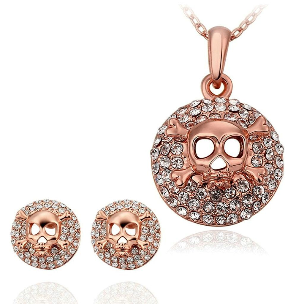 Womenus k gold plated jewelry sets ring size earrings necklace