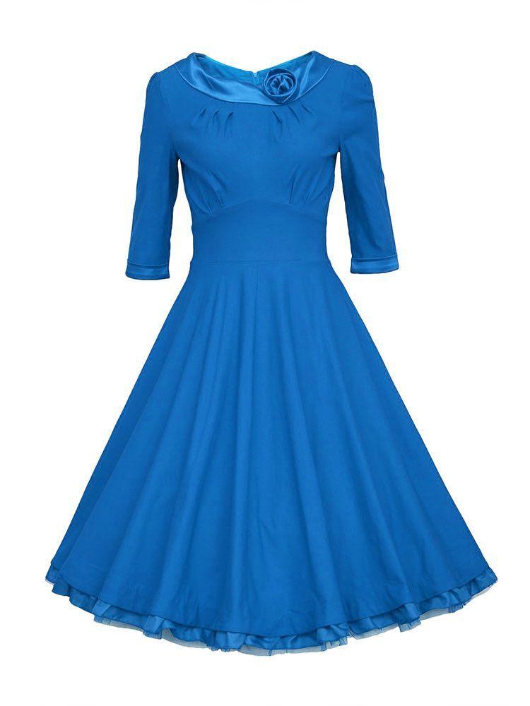 Women Vintage Half Sleeve Ruffle Hem Maxi Dress Dresses