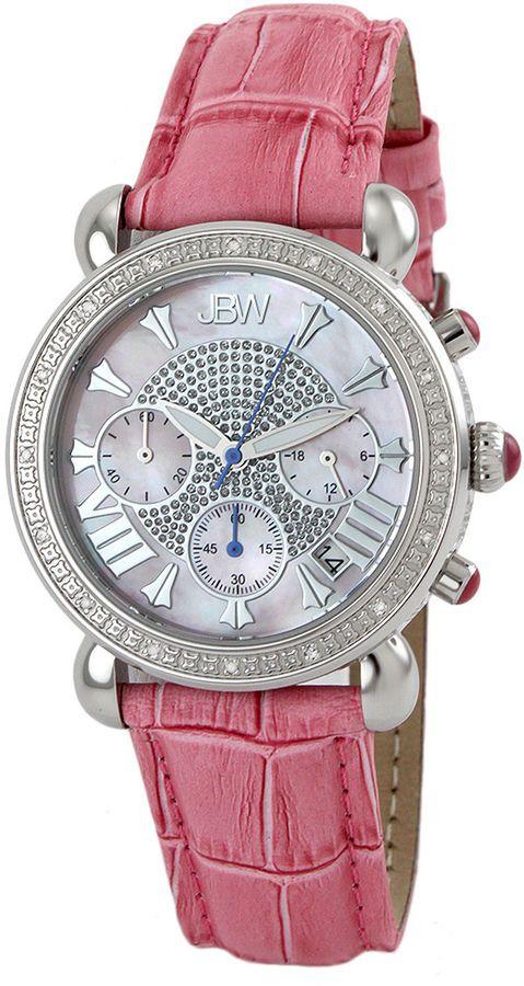 5db8f288a JBW Victory Womens 1/6 CT. T.W. Diamond Pink Leather Strap Watch JB-6210L-E  $1,390 for just $208