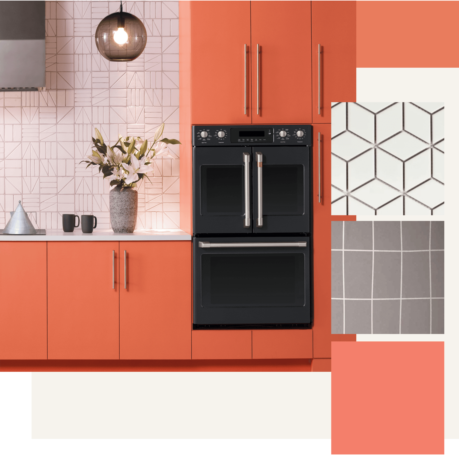Coral Grey And White Kitchen With Yellow And Gold Accents Done Colorful Kitchen Appliances Kitchen Room Design Gray And White Kitchen