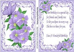 Pretty Purple Flowers In Ornate Card Front With Matching Insert With Verse