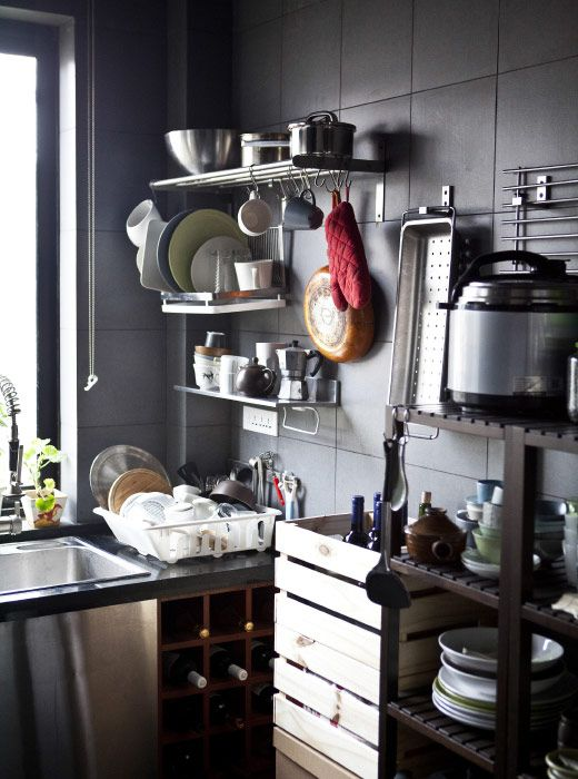 Max out on wall-mounted storage in a small kitchen #IKEAIDEAS from