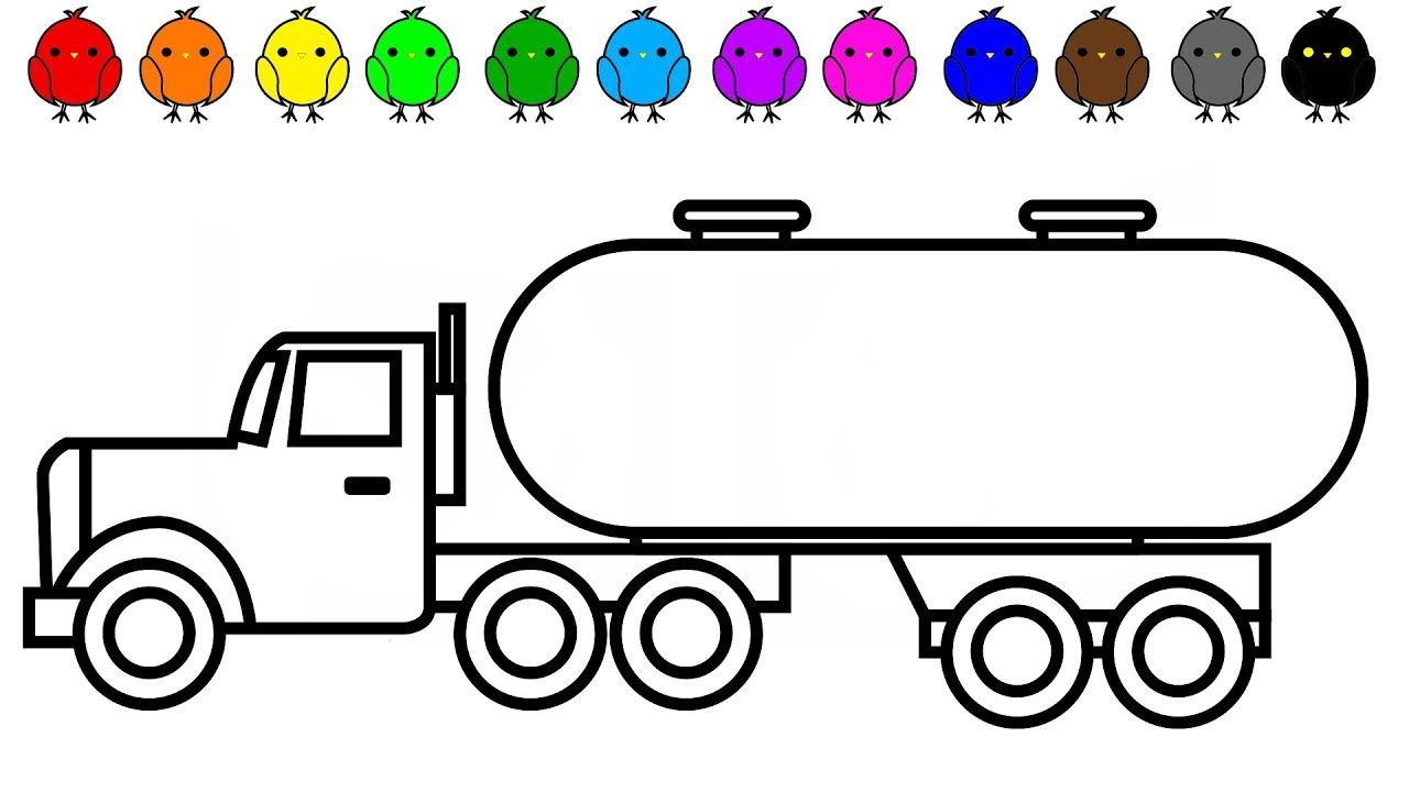 Learn Colors With Oil Truck Colouring Pages Vehicles And