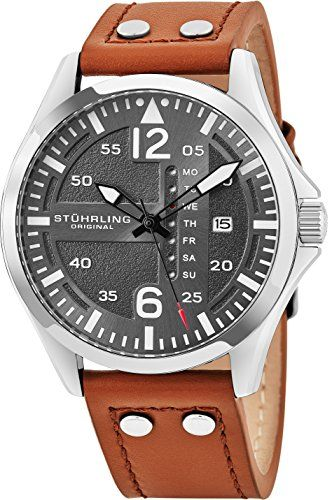Stuhrling Original Mens Analog Stainless Steel Sport Aviator Watch QuickSet  DayDate Brown Casual Leather Strap     Want to know more 1577adb9076