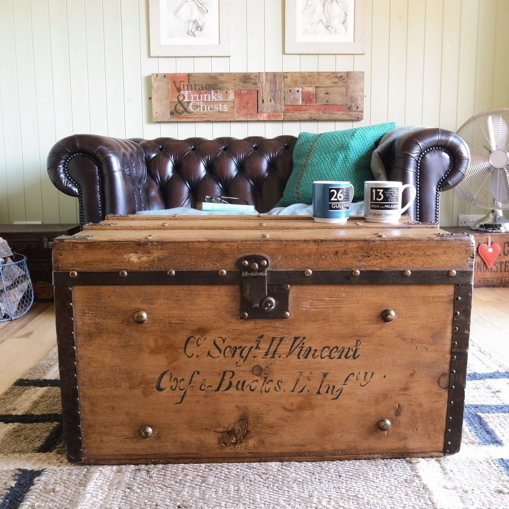 banded STEAMER trunk VINTAGE stripped PINE rustic CHEST box TABLE tv