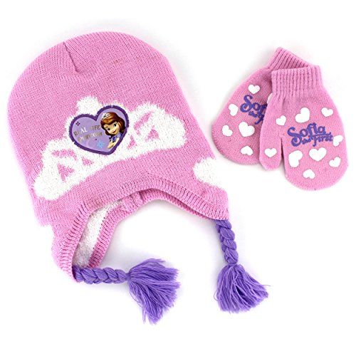 Girls KIds Disney Knitted Sofia Princess The First Cartoon Character Winter Hat