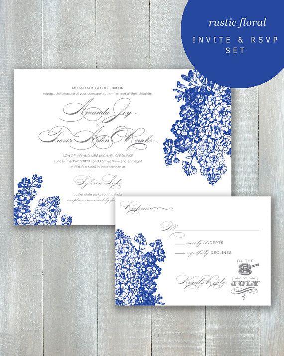 Rustic Floral PDF Invitation Set by JoyEverAfter on Etsy
