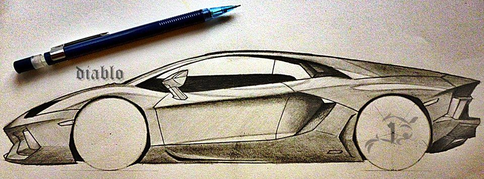 Tried to sketch lamborghini aventador diablo sketch pencil drawing lamborghini