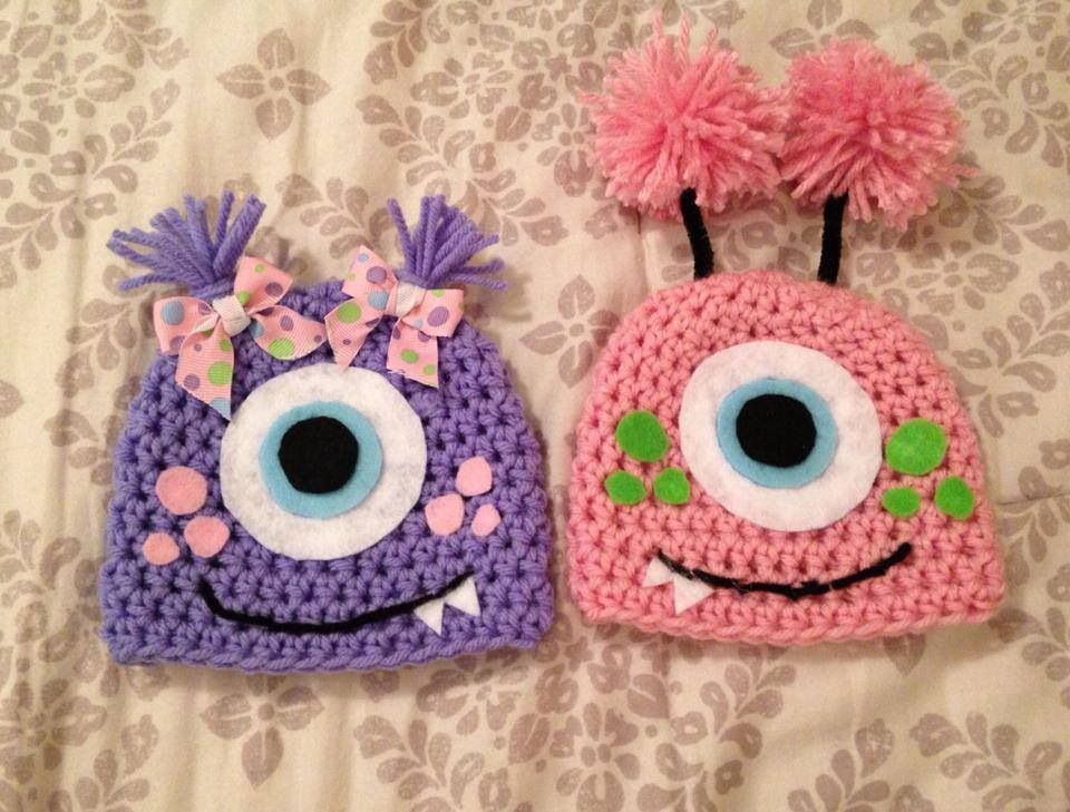 Twin baby monster crochet hats