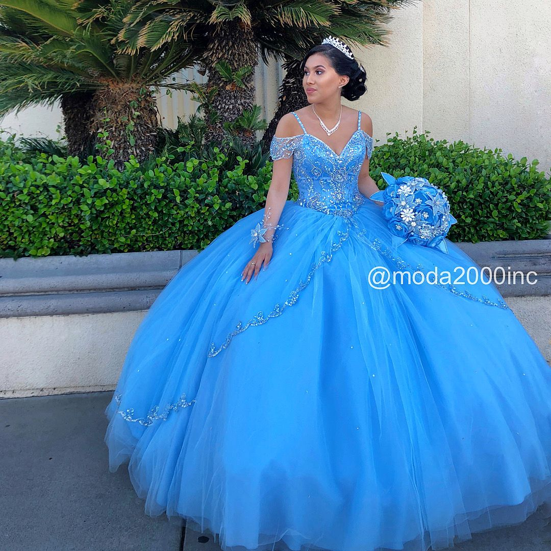 Stunning Bahama Blue And Silver Off The Shoulder With Straps Quince Dress Dresses Quinceanera Blue Quince Dresses Quinceanera Dresses Pink [ 1080 x 1080 Pixel ]