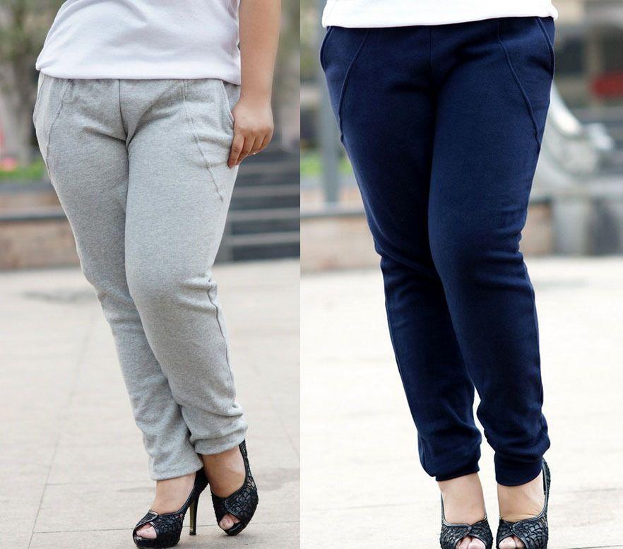 Fashion Fat Women big size women Casual pants trousers Sports ...