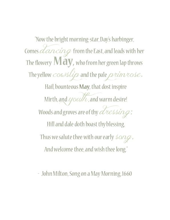 Song on a May morning - click through to free downloadable PDF