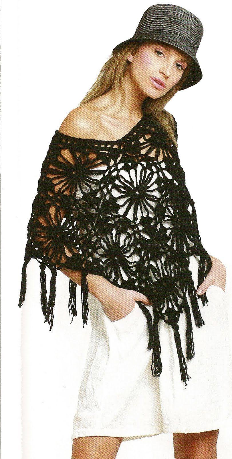 Por amor al Crochet ::: Poncho de Flores