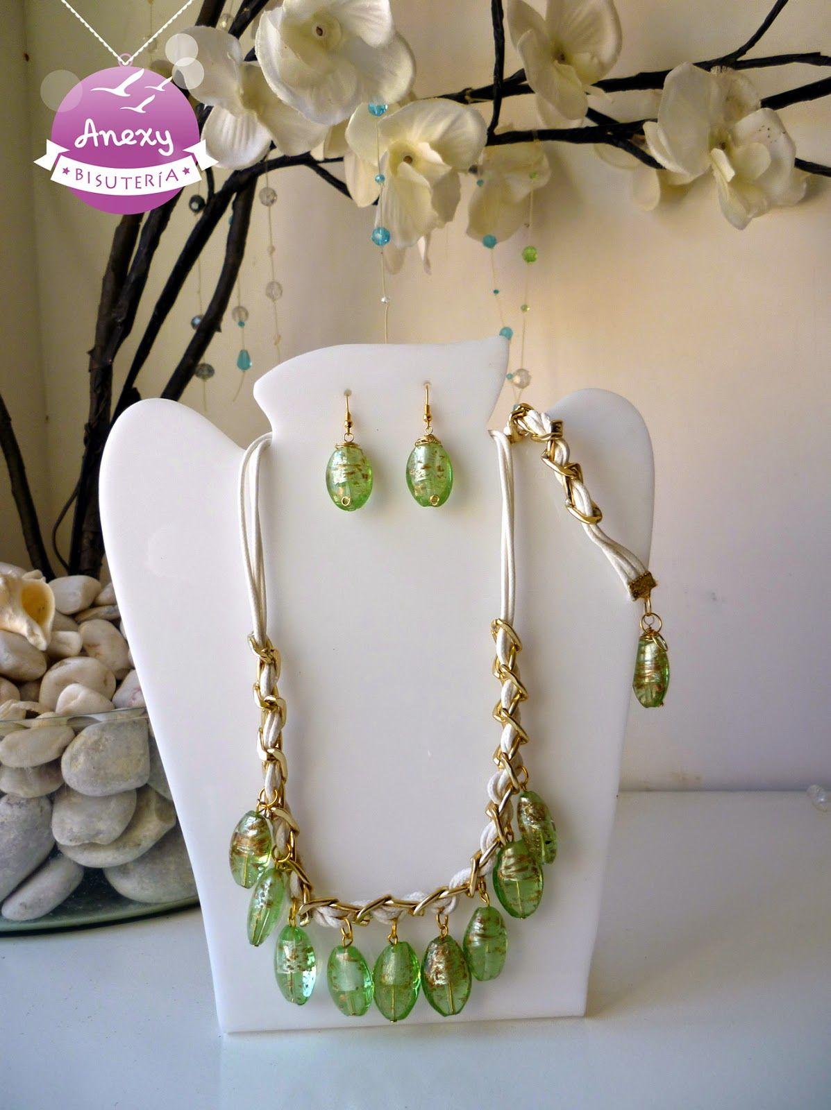 9447275b17f4 Juego de cristal de murano verde y dorado -  Pulsera  Collar  Aretes ...