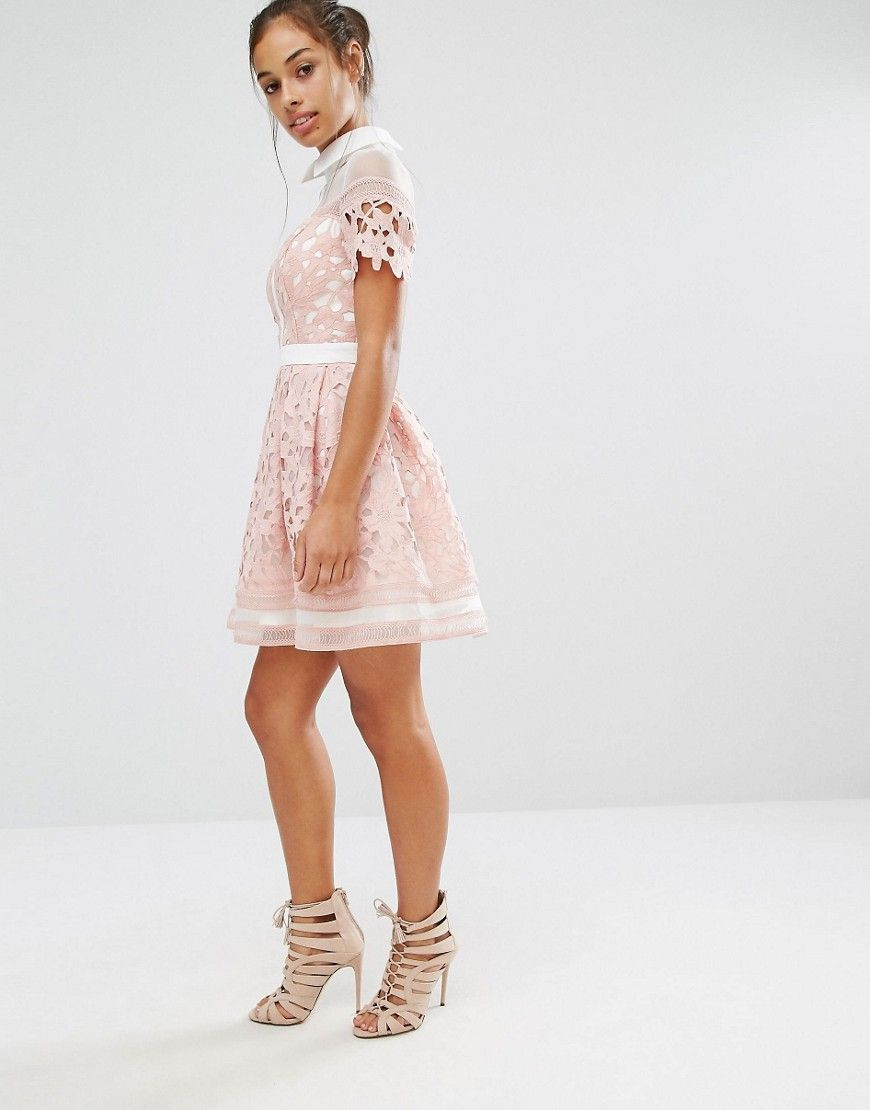 Chi Chi London Petite Premium Lace Mini Skater Dress With Contrast Collar At Asos Com Petite Robe Robe Patineuse Idees De Mode