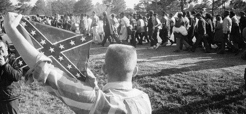 When civil rights marchers were on their historic Alabama Freedom March walking from Selma to Montgomery, AL, in March 1965, this good old white Southern boy wanted to express his feelings by waiving the Confederate battle flag.  The symbol of 'Southern heritage', not hate. Right?