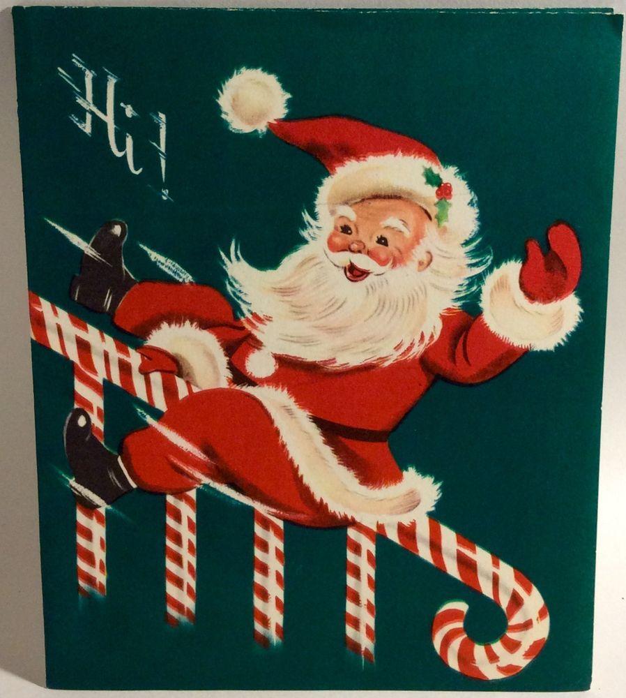 Santa Clause Sliding Down Candy Cane Banister Vintage
