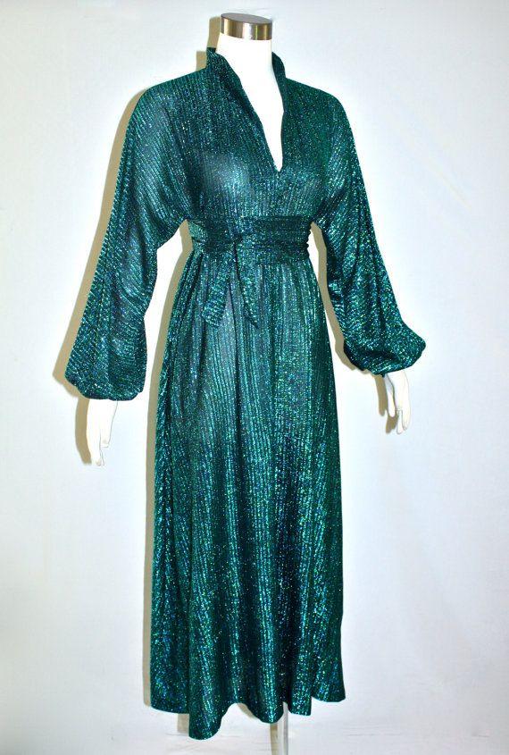 Vintage HALSTON IV Gown Metallic Lurex Dress My grandma rocked a ...