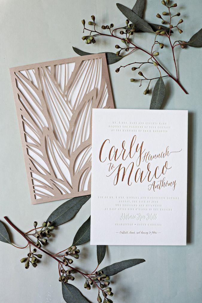 wedding stationery folders%0A loveleigh invitations    rose gold foil   sage green letterpress charleston wedding  invitation suite with