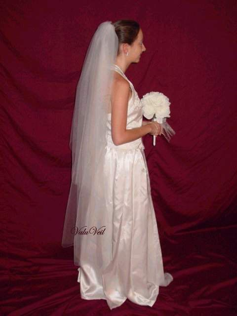wedding veil available  in Champagne, white, ivory, dia. white or black   2 tier waltz  length cut edge bridal veil 4 gown, dress, or tiara