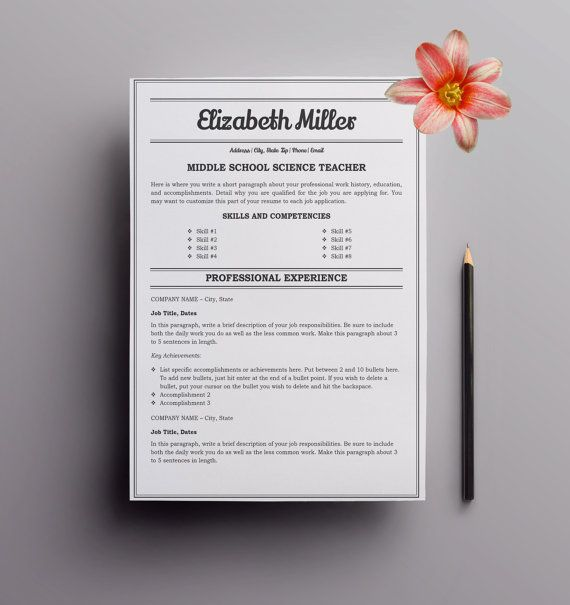 Teacher Resume Template - Cover Letter Template - Microsoft Word
