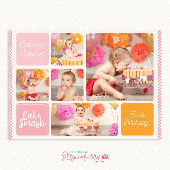 Cake Smash Photo Collage Template First Birthday Cake Smash Etsy Photo Collage Template Collage Template Birthday Collage