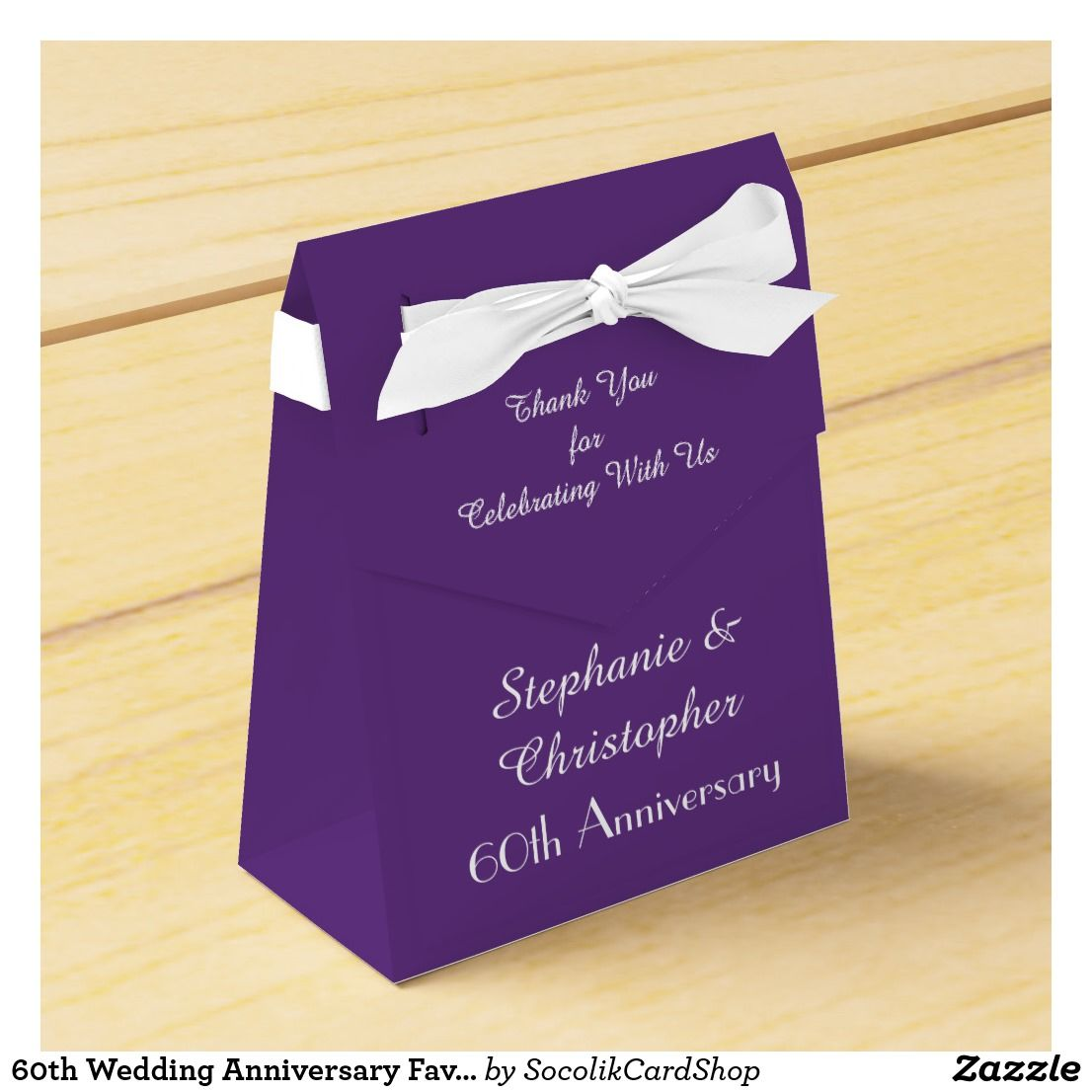 60th Wedding Anniversary Favor Box Purple Favor Box Zazzle Com Wedding Anniversary Favors Purple Favors Blue Wedding Favors