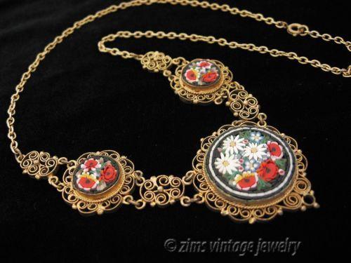 Antique micro Mosaic Filigree Pendant Necklace