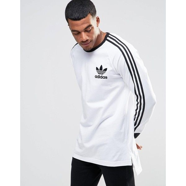 adidas Originals adicolor Longline Long Sleeve T-Shirt In White ...