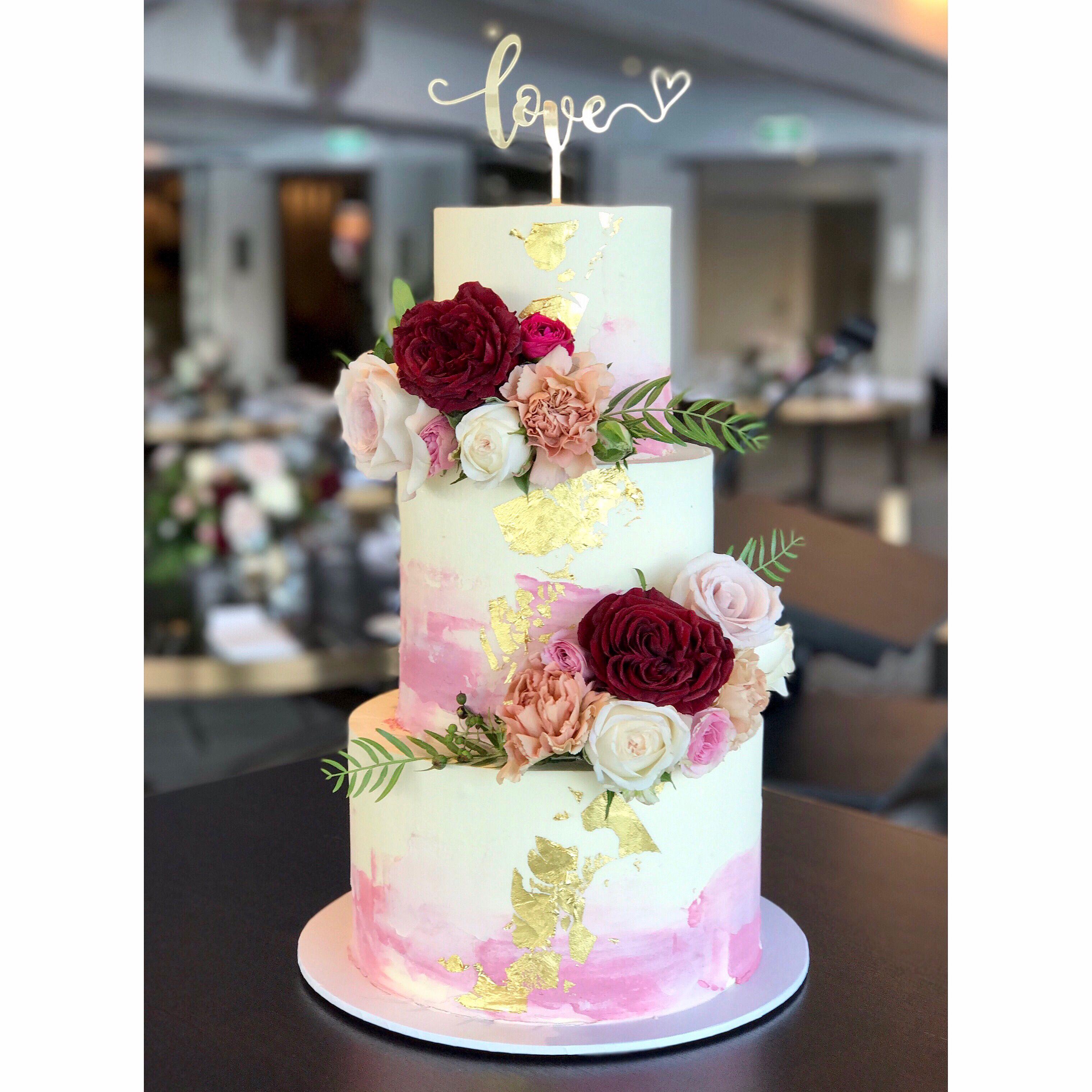 Three Tier Wedding Cake Cake Topper Watercolour Buttercream