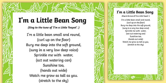 I M A Little Bean Song Lyric Sheet With Actions Jack And The Beanstalk Songs Preschool Songs