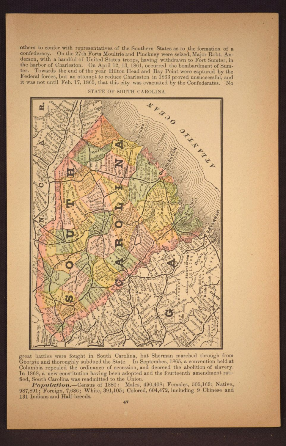 Map South Carolina Map Antique State Late S Original - Map of us states in 1800s