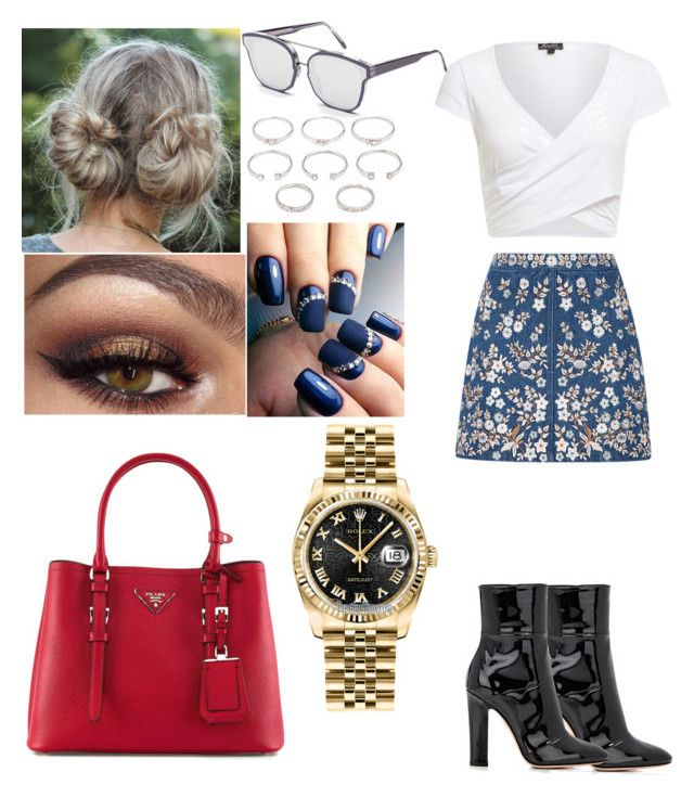 """Denim Dares"" by iffieluv ❤ liked on Polyvore featuring Needle & Thread, RetroSuperFuture, Forever 21, Prada, Gianvito Rossi and Rolex"