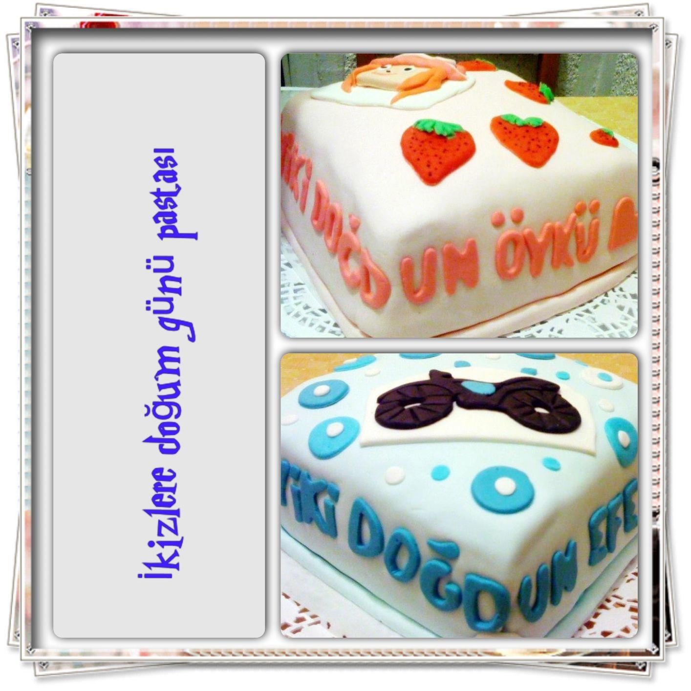 İkizlere doğum günü pastası