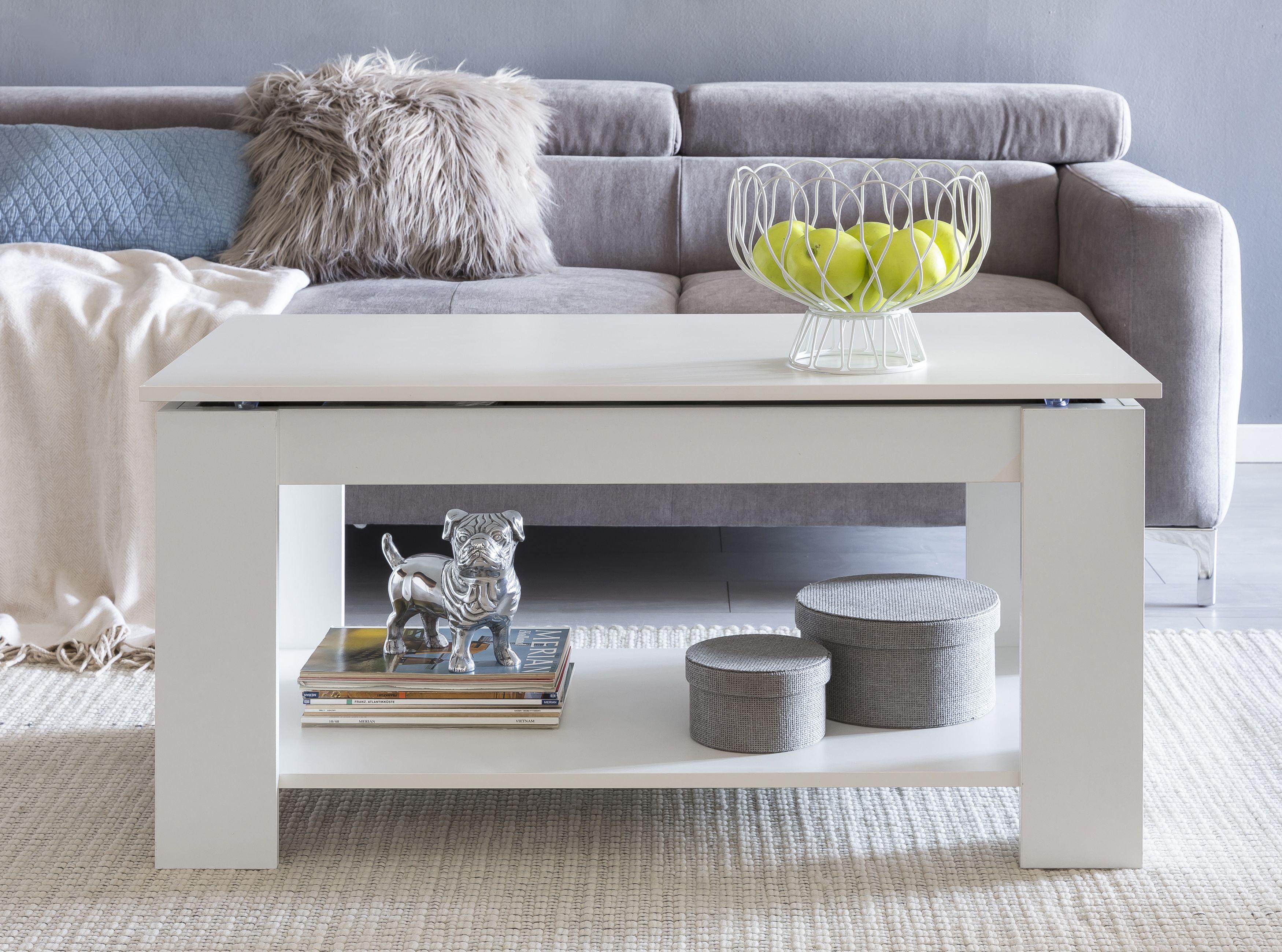 Wohnling Hohenverstellbarer Couchtisch Wl5 283 Weiss Aus Hochwertiger Spanplatte Couchtisch Set Couchtisch Sofa Tisch