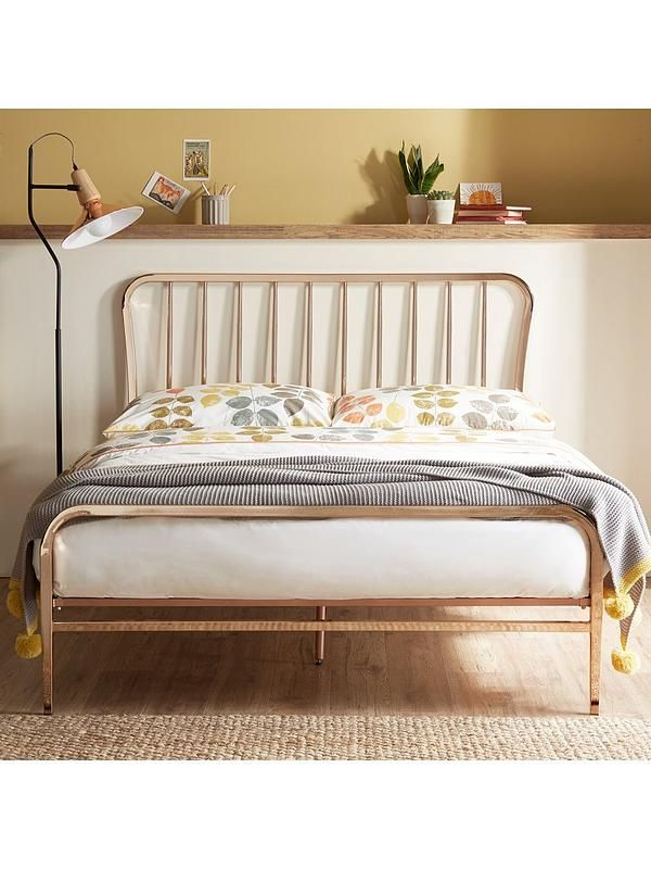 Ideal Home Webster Metal Double Bed Frame in Copper This Webster bed