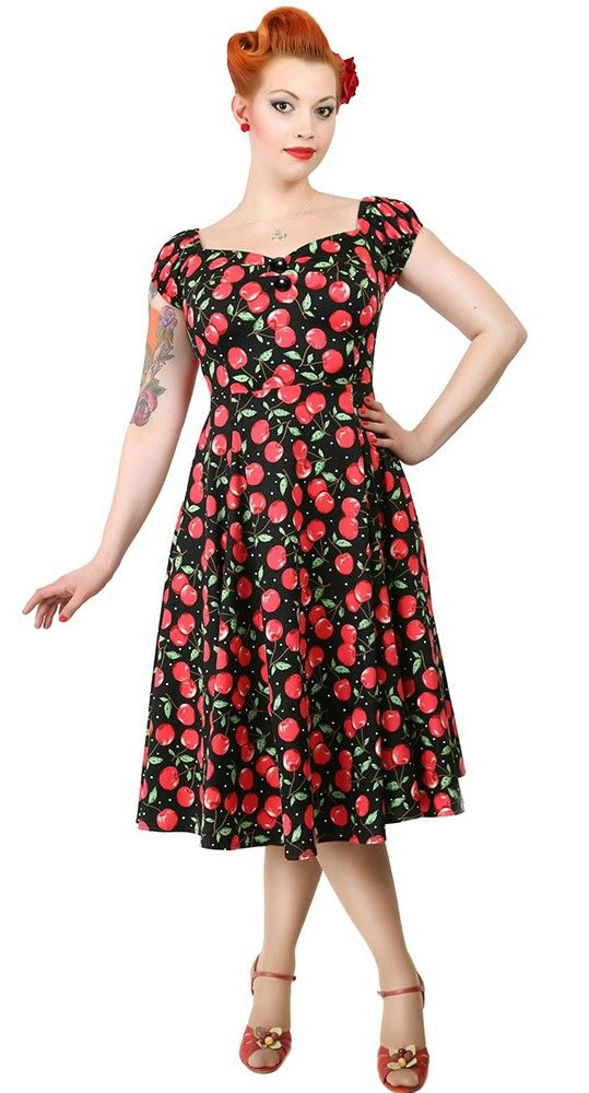Hell Bunny Cherie Vintage Retro 50s Rockabilly Cherries Cherry Pinup Party Dress