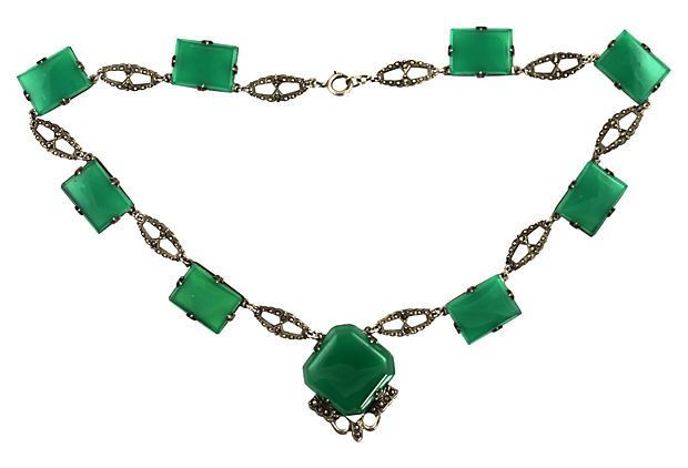 Art Deco Green Czech Glass Necklace