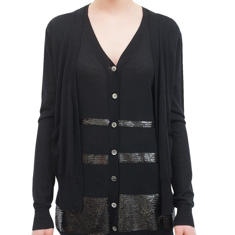 Markus Lupfer Black Sequins Wool Small Cardigan Sweater | eBay ...