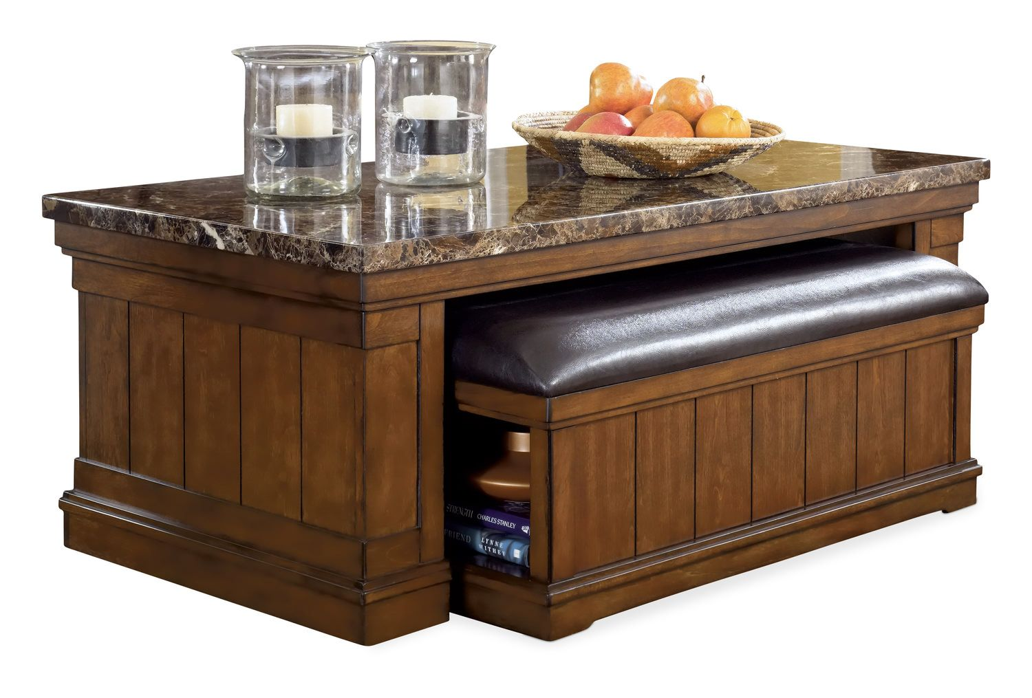 merihill coffee table with ottoman | leather living room