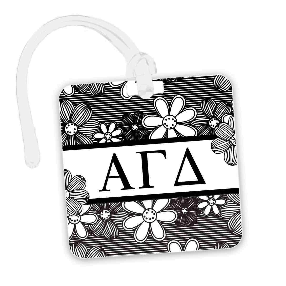 Alpha Gamma Delta Bag Tag I Square I Black White Floral Alpha