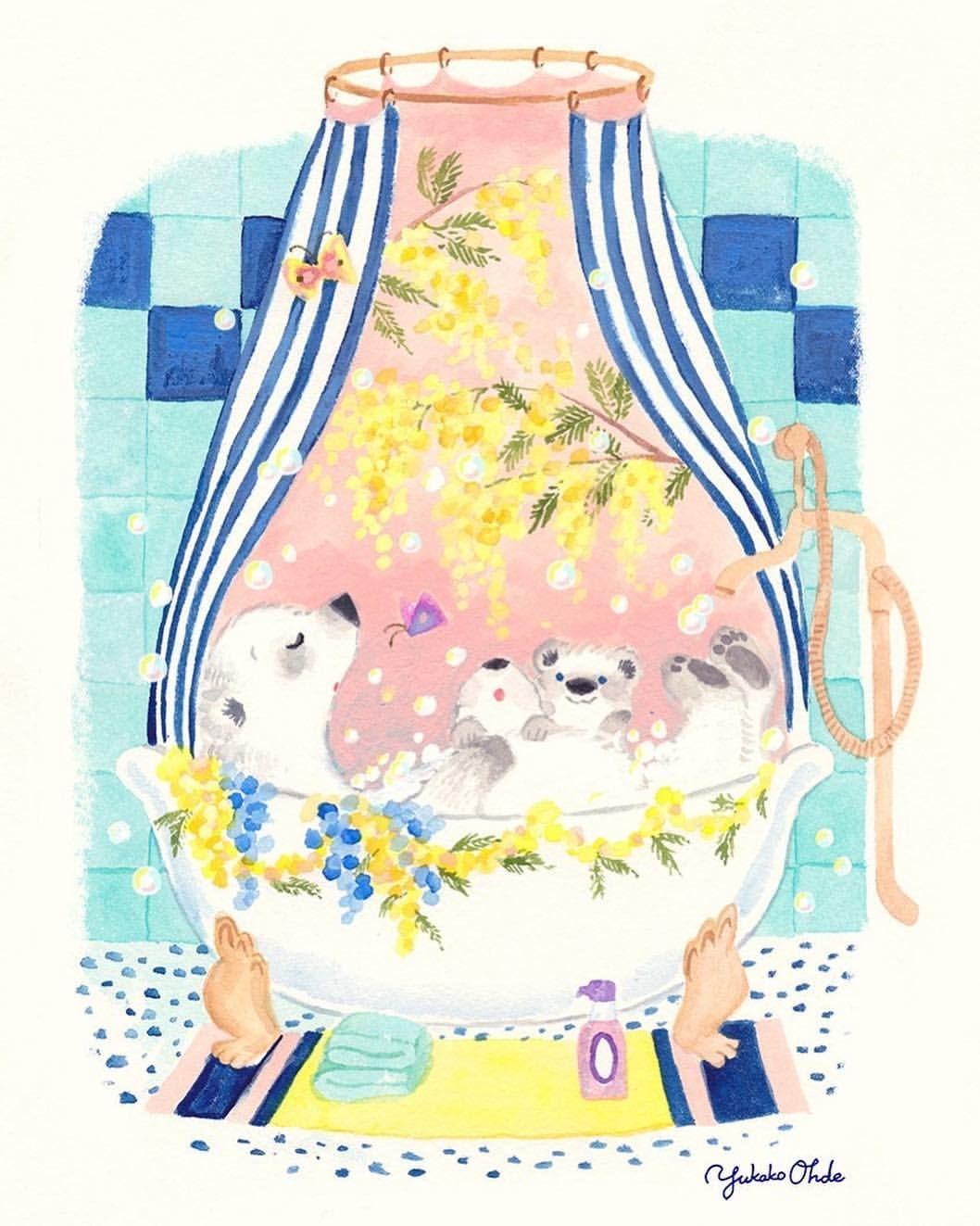 ミモザとバスタイム Illustrations2019 Illustrationjapan